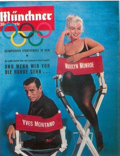 "Munchner Illustrierte - 1960, magazine from Germany. Front cover publicity photo of Marilyn Monroe and Yves Montand for ""Let's Make Love"", 1960."
