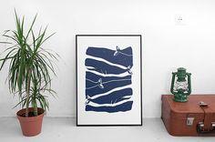 Observation des baleines-grand Art Print Print par BrightBeige