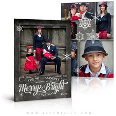 Christmas Card Design - CHALKBOARD Merry & BRIGHT - 5x7 Flat Card - Digital Photoshop Templates for Photographers