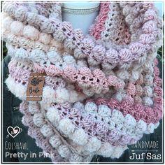 Colshawl Pretty in Pink handmade by juf Sas met gratis patroon - womenaccessory Bobble Stitch Crochet, Crochet Hood, Love Crochet, Crochet Scarves, Crochet Shawl, Crochet Clothes, Shawl Patterns, Crochet Patterns, Pretty In Pink