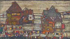 Houses with Laundry or Häuser mit bunter Wäsche (Vorstadt II) is one of Schiele's most impressive and important townscapes.