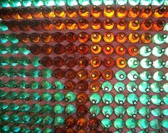 buddhist temple built from beer bottles ....details of the wall
