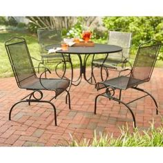 Belham Living Stanton Wrought Iron Dining Set by Woodard Seats 4