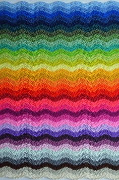 Chevron Rainbow Crochet Blanket