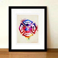 Watercolor Fire Department logo Fine Art Print 8.5 x