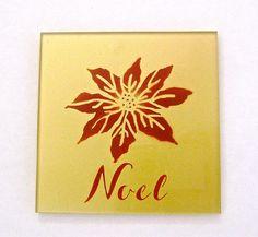 Aztek Airbrushed Noel Glass Drink Coasters