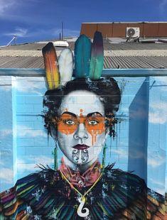 'Kaitiaki', new Street Art by Fin DAC in Christchurch, New Zealand. #StreetArt #Graffiti #Mural #NewZealand