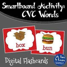 CVC Words: Digital Flashcards for Smartboard/Promethean Board!