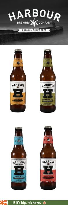 Harbour Brewing Company Beer Bottles – great design, and the beer's not too shabby either! Harbour Brewing Company Beer Bottles – great design, and the beer's not too shabby either! Craft Beer Brands, Craft Beer Labels, Wine Labels, Beer Company, Brewing Company, Bottle Packaging, Coffee Packaging, Food Packaging, Brewery Logos