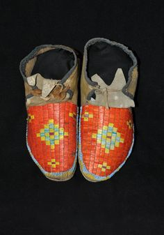 Antique Sioux quilled moccassins