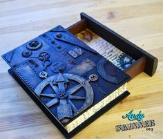 Teen Tinkers, Altered Steampunk Book. Wood book box w/ drawer at hobby lobby for 4.
