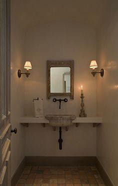 Ryan Street and Associates - bathrooms - plastered walls, plaster walls, plaster wall treatment, terracotta floor, terracotta tiled floors, ...