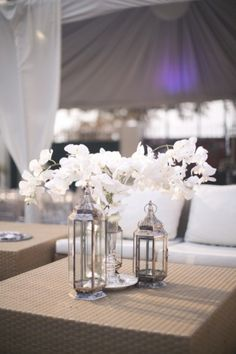 White & Silver Floral Centerpiece