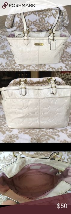"""Coach Ivory Patent Leather Tote Elegant embossed ivory patent leather authentic Coach purse with beautiful soft pink interior lining. Brass hardware. Dual shoulder straps with approx. 9"""" drop. Includes Coach hang tag. There are a few marks/spots throughout. There is some ink on the bottom and back bottom right. First photo shows mark next to Coach logo. There are also a few pink discolored spots on the front and side but overall still in good condition. Interior is perfect!   Dimensions: 14""""…"""