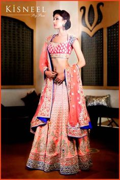 Kisneel by Pam Bridal Collection Info & Review | Bridal & Trousseau Designers in Delhi #lehenga #wedmegood Indian Bridal Fashion, Indian Bridal Wear, Indian Wedding Outfits, Pakistani Bridal, Indian Wear, Indian Outfits, Bridal Sari, Blue Bridal, Indian Weddings