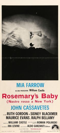 "Rosemary's Baby (1968) Vintage Italian Movie Poster - 13"" x 28"""