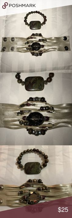 Gently Used Bracelet Set Charcoal, wine, green, and champagne colors. Very classy! Jewelry Bracelets