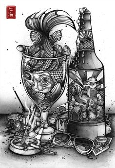 'Hook, Line and Inker' by Nanami Cowdroy - #wineglass #bottle #fish #sunglasses #ink
