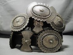 Very Important Vintage Native American Navajo Bruce Morgan Sterling Silver Concho Belt