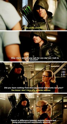 """You know I don't have any bedside manner"" - Oliver and Felicity #Arrow"