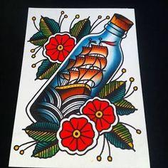 Resultado de imagem para traditional ship bottle tattoo