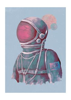 One small step for man. Terran Astronaut graphic art print by Tracie Andrews.