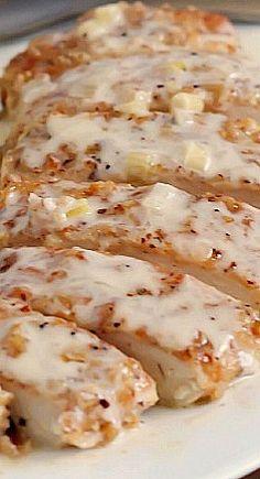 Pecan Crusted Chicken with Apple Cream Sauce ~ Unique, unbelievably delicious & so easy!