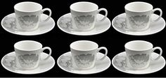 Lucca Set Of 6 Demi Cups & Saucers. Set Of 6 White with Floral Espresso Cups And 6 Saucers