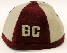 """Gray and maroon beanie with """"BC"""" on the front. Beanies, Football, Gray, Soccer, Futbol, Beanie Hats, Grey, Beanie, American Football"""