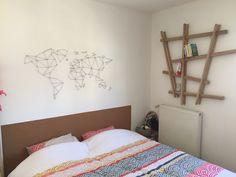 Carte du monde au fil Étagère DIY en tasseau Tête de lit en liège