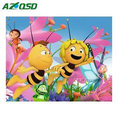 >> Click to Buy << AZQSD DIY Diamond Painting Cross Stitch Wall Decor Full Round Diamond Embroidery Mosaic Painting Set Cartoon Honeybee yz1260 #Affiliate