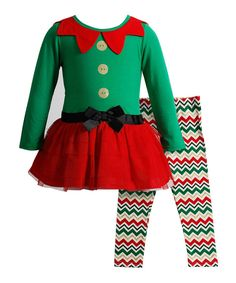5e617ec26878 Look at this Youngland Green  amp  Red Elf Dress  amp  Leggings - Infant