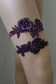 Wedding Garter  Plum  ColorLace Bridal Garter,Wedding Accessory,Bridal Lingerie,Wedding Lingerie