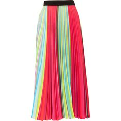 Mary Katrantzou Rainbow pleated georgette skirt, Women's, Size: 14 ($1,400) ❤ liked on Polyvore featuring skirts, black flared skirt, mary katrantzou, flared skirt, black flare skirt and black knee length skirt