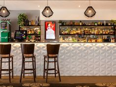 Stars design wall panels on barfront at The Red Lantern
