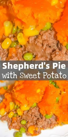 Shepherds Pie with Sweet Potato is a hearty gluten free dinner recipe made with ground beef and loaded with corn and peas. This easy shepherds pie is topped with mashed sweet potatoes. Gluten Free Recipes For Dinner, Beef Recipes For Dinner, Ground Beef Recipes, Chicken Recipes, Easy Shepherds Pie, Homemade Meatloaf, Dinner With Ground Beef, Grilled Cheese Recipes, Beef And Noodles