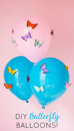 The Prettiest DIY Butterfly Balloons!, The Prettiest DIY Butterfly Balloons! Add colourful feather butterflies to balloons for a beautiful impact! Butterfly 1st Birthday, Butterfly Balloons, Butterfly Garden Party, Butterfly Birthday Party, Butterfly Baby Shower, Diy Butterfly, Fairy Birthday, First Birthday Parties, Birthday Party Themes