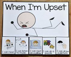 "When I'm Upset Card - This printable behavior support is a choice card for students with Autism or other visual learners. The ""When I'm Upset,"" card offers students calming choices to be done in a ""quiet area,"" when upset or calming down from a tantrum. Behaviour Management, Behaviour Chart, Classroom Management, Behavior Charts For Kids, Positive Behavior Chart, Preschool Behavior Management, Classroom Behavior, Autism Classroom, Classroom Decor"