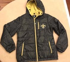 Men's Vntg NFL Pro Line New Orleans Saints Quilted Jacket Black&Gold Sz S Small