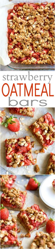 Oatmeal Bars Healthy STRAWBERRY OATMEAL BARS filled with juicy strawberries and a buttery crumble topping for only 132 calories a serving! Serve it for breakfast, dessert, or eat it as a snack! Oatmeal Bars Healthy, Strawberry Oatmeal Bars, Strawberry Recipes, Strawberry Breakfast, Oatmeal Recipes, Healthy Sweets, Healthy Breakfast Recipes, Healthy Snacks, Healthy Recipes
