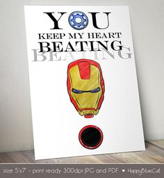 Iron Man Valentines Day Card - 5x7 inch Printable - Instant Download - You Keep My Heart Beating