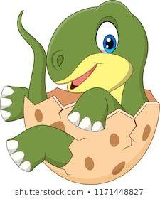 Cartoon baby dinosaur hatching vector image on VectorStock Dinosaur Drawing, Cartoon Dinosaur, Dinosaur Funny, Dinosaur Art, Baby Cartoon, Cute Cartoon, Cartoon Toys, Die Dinos Baby, Baby Dinosaurs