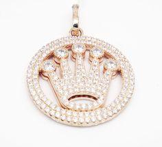 YAGI 925 Rose Tone Sterling Silver Micro Pave Crown Life C Z Medallion Pendant  #LeonDiamond #Pendant