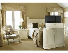 crystal pointe white tv lift cabinet by