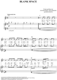 """""""Blank Space"""" Sheet Music by Taylor Swift from '1989' www.onlinesheetmusic.com"""