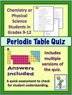 periodic table quiz for high school chemistry physical science chemistry lessons high school chemistry