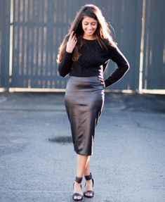 Style Tips on What to Wear With a Leather Skirt | Leather, Skirts ...