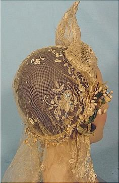 c. 1910's -1920's Long Dark Ecru Lace Wedding Veil with Tall Wired Headpiece and Wax Flowers. Back