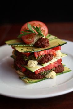 Zucchini and Heirloom Tomato Lasagna (raw, vegan)