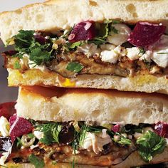 Roasted Eggplant and Pickled Beet Sandwiches. Uh-freaking-mazing! Super quick to make too! Can make with any tasty bread/roll. I also skipped the garlic in the mayo. Still-amazing!!!!